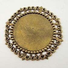 10PCS Vintage Gold Alloy Round Cameo Setting Cabochon Tray Inner 35*35mm 30072