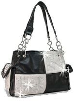 EXTRA BLING RHINESTONE SQUARES CONCEALED CARRY GUN WEAPON PURSE BLACK SILVER