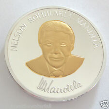 Nelson Mandela Two Tone Silver & Gold Plated Coin Medal South Africa Autographed