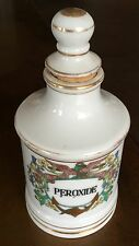 Antique Apothecary Bottle Hydrogen Peroxide Hand Painted Porcelain W Stopper