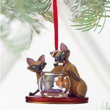 DISNEY STORE 2016 LADY TRAMP SI & AM SIAMESE CATS SKETCHBOOK CHRISTMAS ORNAMENT