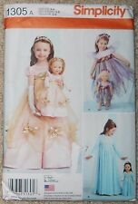 "Simplicity Sewing Pattern 1305 A Child 18"" Doll Costumes Princess Uncut 3 - 8"