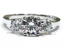 14K White Gold three-stone Cubic Zirconia engagement ring by Gianni Deloro, 6mm