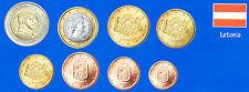 Serie 8 monedas de euro Letonia 2014, Sin circular