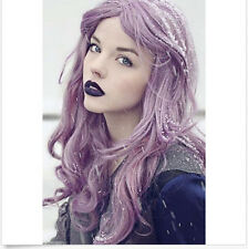 Womens Heat Resistant Synthetic Hair Fiber Long Purple Wave Cosplay Wigs+Wig Cap