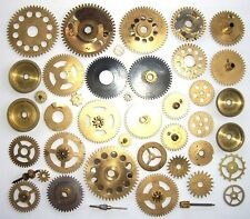 Lot of 35 vintage brass alarm clock gears wheels shifts cogs Steampunk parts #6