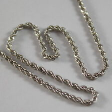 18K WHITE GOLD CHAIN NECKLACE, BRAID ROPE MESH 17.71 INCHES MADE IN ITALY