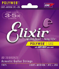 Elixir 11075 Polyweb 80/20 Acoustic Guitar Strings 12-56 ant-rust steels