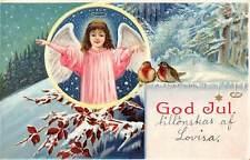 God Jul! Christmas! Girl Angel, Cherub, Oiseaux Birds 1912