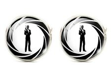925 Silver Plated James Bond 007 Logo Cufflinks Round cuff links UK Seller