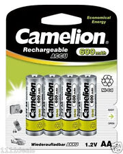 4 Camelion AA 600mAh 1.2V Ni-CD Rechargeable Solar Batteries