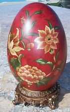 """NEW VINTAGE HAND PAINTED RED, GREEN, IVORY POTTERY CERAMIC EGG ON STAND-13"""""""