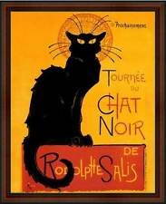 Le Chat Noir (The Black Cat) by Steinlen. Framed Vintage AD Poster Reproduction