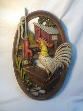 VTG 70's Burwood Rooster Kitchen Plaque Retro Wall Decor Art Rooster Barnyard