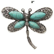 """2"""" Silver Tone and Turquoise Dragonfly Brooch Pin"""