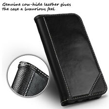 For Samsung Galaxy S7 Edge Genuine Real Leather Flip Wallet Case Cover BLACK