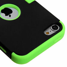 iPod Touch 5th / 6th Gen GREEN Black Impact Armor Hard & Soft Rubber Hybrid Case