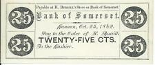 State of Maine H. Burrill's Store or Bank of Somerset 25 cents Town of Canaan