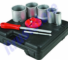 CARBIDE GRIT HOLE SAW DRILL BIT KIT HOLESAW SET CONCRETE BLOCK CERAMIC TILE