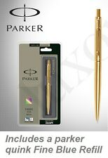 Parker Classic Gold GT Gold Trim Ball Point Pen with Blue Quink Refill Fine Nib