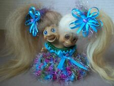 TROLL DOLL CLOTHES - BLUE PINK OLIVE FLUFF DRESS FOR 2(TWO) HEAD UNEEDA TROLL