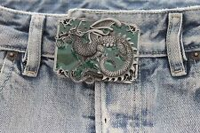 Men Women Belt Buckle Silver Metal Western Fashion Chinese Dragon Green Square
