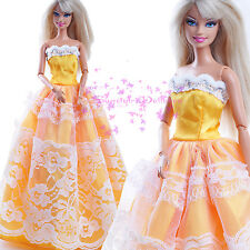 ON Sale Cute Yellow EVENING SPLENDOR Dress Grown with white Lace for Barbie Doll