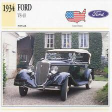 1934 FORD V8-40 Classic Car Photograph / Information Maxi Card