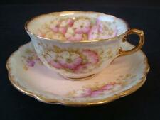 AYNSLEY ART NOUVEAU PRIMULA PINK BLUSH GREEN AND GILT CABINET CUP AND SAUCER