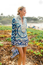 Tory Burch Tunic  $395 Aglaja Silk Sz  2  Classic Resort Cruise Blue BEAUTY