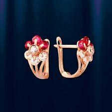 Russische Rose Rotgold 585 Kinder Ohrringe mit Zirconia. Neu  Glänzend.