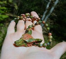 Moss green wolf necklace Unakite crystal pagan forest witch wicca mori fairy elf