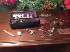 Vintage Greist Hemmer Sewing Machine Attachments and Parts in Metal Case