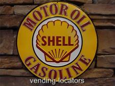 "Shell Gasoline Motor Oil Round Metal 12"" Sign Gas Station Advertisement Decor"