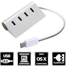 Alloy Type C USB 3.1 Hub 4 Ports 3.0 Adapter For Apple Macbook Laptop PC Google