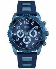 Guess Men's Chronograph Two-Tone Blue Silicone Strap Watch U0599G4 NEW IN BOX!!