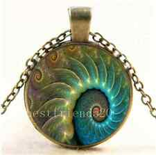 Vintage Fibonacci Spiral Photo Cabochon Glass Bronze Chain Pendant Necklace