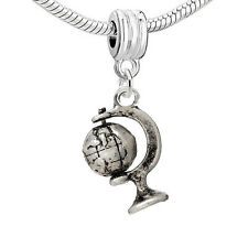 """Earth Globe"" Charm Bead Spacer for Snake Chain Charm Bracelets"