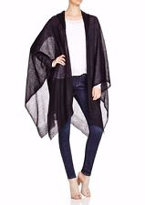NWT Eileen Fisher Airy Washed Mohair Black  Hooded Wrap Poncho  size M/L