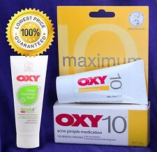 OXY 10 Maximum Strength Acne Pimple Blemish 10% Benzoyl Peroxide+ Deep Acne Wash