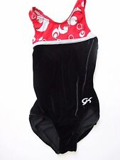 GK Elite Leotard Adult X-Small AXS Black Velour Red White Silver Gymnastics