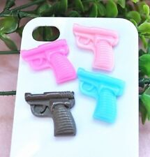 4 pcs pistol revolver fake weapon cabochon jewellery decoden craft zombies