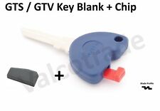 Uncut Key Blank for Vespa GTS, GTV, GT 125, 200, 250, 300 PLUS Transponder Chip.