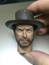 "Custom 1/6 Scale Eastwood Cowboy head Carved For 12"" Male Figure Body Model"