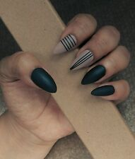 Hand painted MATT black and nude STILETTO NAILS boxed +free application kit