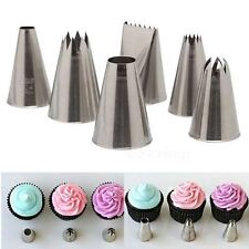 6pcs Icing Piping Nozzles Tips Tool Set For Cake Puff Decorating Sugarcraft EW