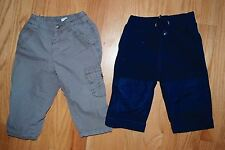 Lot 2 - Baby Boys Size 6-9M Pants - Baby Gap Fleece - Benetton Baby Brown Cargo