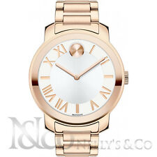 Movado 3600200 Bold White Dial Rose Gold Plated Steel 39 mm Unisex Watch