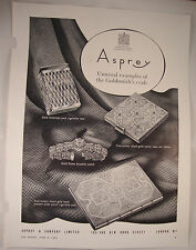1953 Vintage ASPREY Magazine Advert Gold Smoking Accessories ROLEX Bracelet