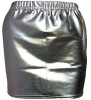 Metallic Hot Wet Look Shiny Ladies Women SILVER Sexy Mini Elasticated Skirt--HQ*